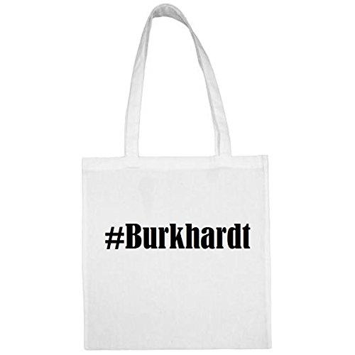 Tasche #Burkhardt Größe 38x42 Farbe Weiss Druck Schwarz