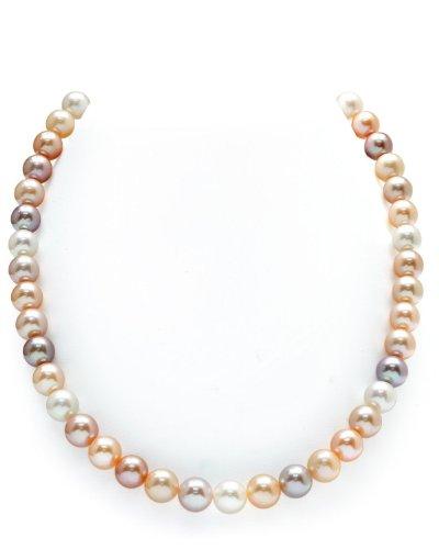 THE PEARL SOURCE - Mehrfarbige Perlenkette AAA 9-10mm Süßwasser Zuchtperlen Halsketten für Frauen - Perlen Kette Matinee - Länge 50cm - mit Gelbgoldverschluss