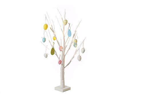 Jaymark Products - Albero di Pasqua con luci, 70 cm, effetto glitter bianco