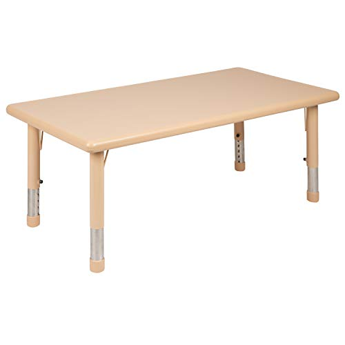 """Price comparison product image Flash Furniture 24""""W x 48""""L Rectangular Natural Plastic Height Adjustable Activity Table"""