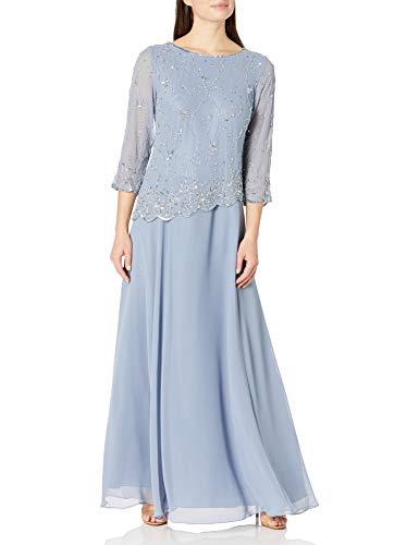 J Kara Women's Beaded Scallop Bodice Asymmetrical Gown, Dusty Blue/Silver, 12