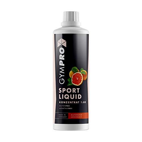 GymPro - Sport Liquid, Fitnessgetränk Konzentrat (1000ml) Lower Carb Drink, Sirup Getränke Konzentrat in Flasche mit L-Carnitin, Magnesium und Vitaminen für Fitness und Sportdrinks (Blutorange)
