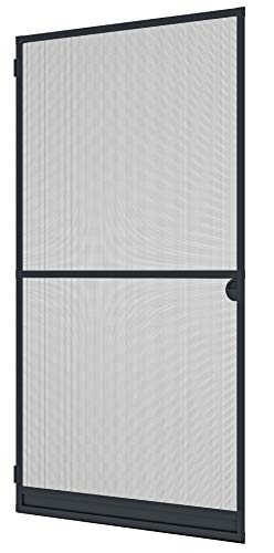 Windhager Insektenschutz Spannrahmen Expert Fliegengitter Alurahmen für Türen, individuell kürzbar, 120 x 240 cm, anthrazit, 04333