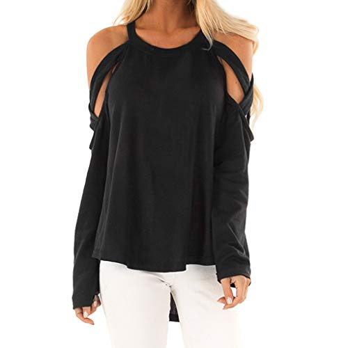 Blouses for Womens, FORUU Clover Ladies Sales 2020 Under 10 Best Gift for Girlfriend Fashion O-Neck Pure Color Long Sleeve Strapless Top Easy