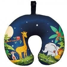 Children's Travel Neck Kussen - Jungle Design. Ideaal reisaccessoire/reiskussen voor kinderen.