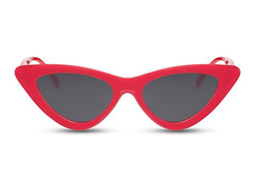 Cheapass Occhiali da Sole Cat Eye Moda Montatura Rossa Occhiali Neri 100% UV-400 Protetti Donne Donna
