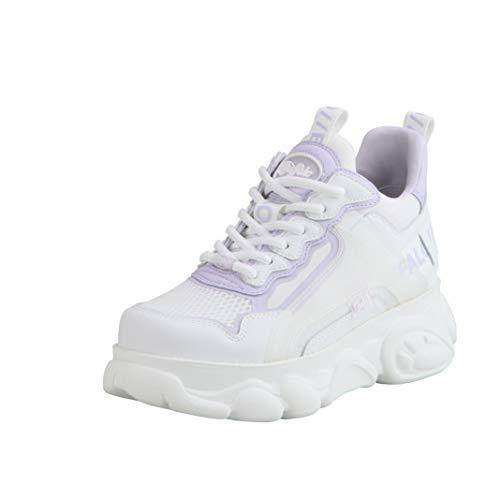 Buffalo Zapatillas altas para mujer Corin, Blanco White Purple, 40 EU