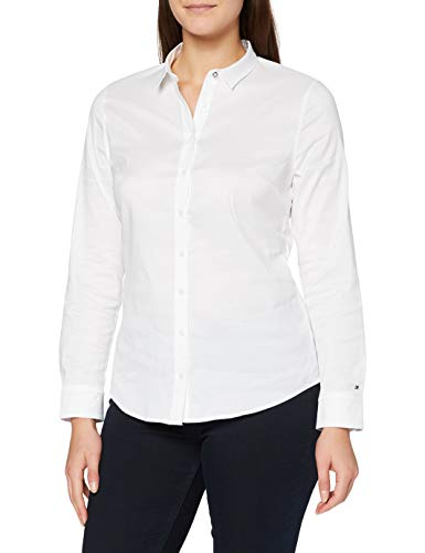 Tommy Hilfiger Amy Str Shirt Ls W1 - Camisa para mujer, color classic white, talla 10