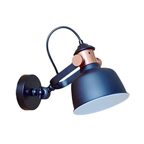 HTZ-M Lámpara de Pared, Aplique de Pared Apliques de Pared, lámpara de Pared de Cuenco Envejecido, lámpara de Montaje de Pared metálica de 1 Bombilla en Negro con Mango Ajustable
