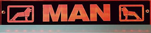 Schilderfeuerwehr LED-Leuchtschild mit Man-Logo 30x6 cm ✓ Ideale Geschenkidee ✓ Lasergraviert | Edles LED-Schild als Truck-Accessoire | Beleuchtetes Man Logo-Schild für den 12/24Volt-Anschluss |