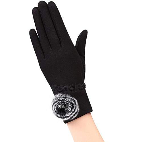 Small-shop-gloves Gants Chauds de Sport d'hiver pour Femme avec Poignet et en Cachemire en Coton pour écran Tactile 13E, Femme, Noir, Taille Unique