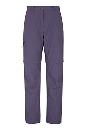 Mountain Warehouse Explorer pantalón Convertible Mujer - Pantalones de protección UV, Parte de Abajo de Secado rápido, Multibolsillos - para Viajar, Senderismo, Camping Morado 34