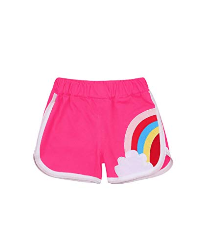 Toddler Baby Boys Girls Shorts Elastic High Waist Rainbow Print Sprots Short Summer Casual Outfit (Rose Red, 6-7T)