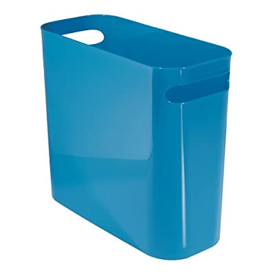 Rectangular Trash Can with Handles, Waste Basket Garbage Can for Bathroom, Bedroom, Home Office, Dorm, CollegeInterDesignUna9308110-InchBlue