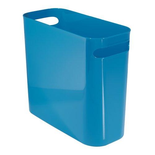 InterDesign Una Papelera de reciclaje con asas, cubo de basura de plástico, papelera de oficina, cocina o baño, azul
