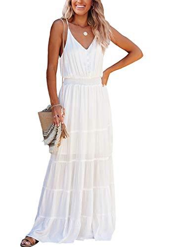 PRETTYGARDEN Women's Causal Summer Dress Spaghetti Strap Sleeveless High Waist Beach Long Maxi Dresses (White,Medium)