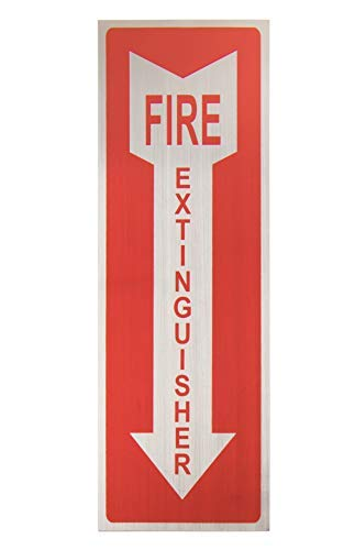 Fire Extinguisher Signs - 4-Pack Metal Aluminum Fire Extinguisher Signs with Arrow Symbol, Self-Adhesive Decal, Ideal for Office, Retail, Restaurants, Indoors and Outdoors, 3.9 x 11.75 Inches