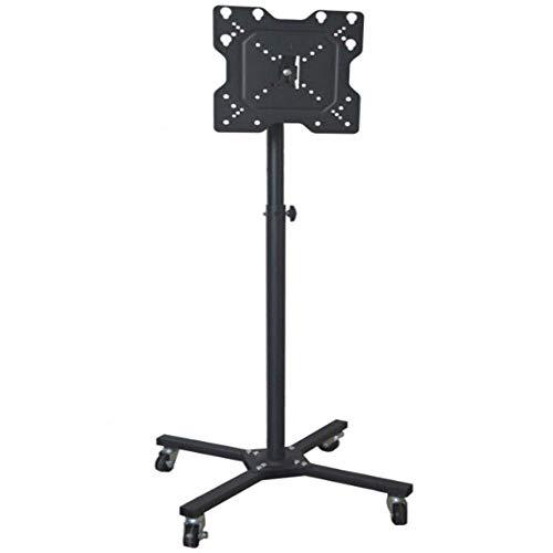 Unidad de gabinete con soporte de piso para TV de acero inoxidable para televisores planos curvos de 14 a 43 pulgadas, soporte de monitor negro con ruedas, hasta 25 kg, altura de inclinación ajustable