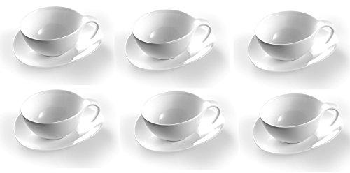 OVUM - Juego de 6 tazas grandes con platillo de porcelana especial infusiones, te y café