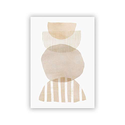 Poster Abstractos del Tono de la Tierra Geometría Beige Gris Pintura de la Lona Neutra Poster Minimalista e Impresiones Boho Arte de la Pared Decoracion de la Sala de Estar 40x50cm Sin Marco