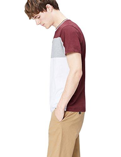 Amazon-Marke: find. Herren T-Shirt Chest Stripe, Rot (Ox Blood), M, Label: M