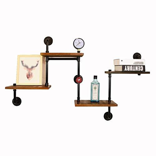 SZQ-composiet smeedijzeren boekenplank, waterpijp retro plank meerlagig massief hout muur plank bar Cafe muur creativiteit decoratieve frame 120 * 75CM