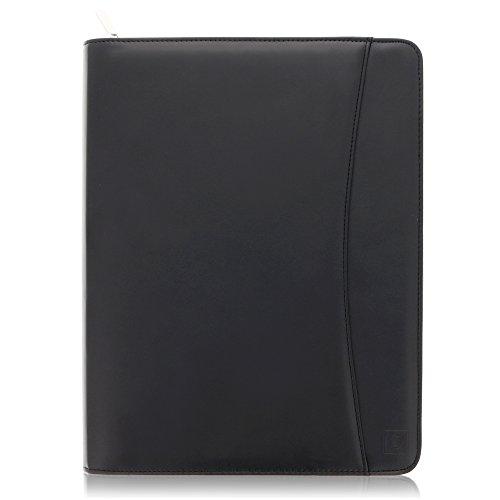 Zippered Leather Business Portfolio Padfolio - Professional Black PU Leather Portfolio Binder & Organizer Folder with 10.5 Inch Tablet Sleeve by Lautus Designs