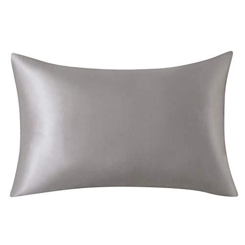 SLPBABY Silk Pillowcase for Hair and Skin with Hidden Zipper Print (Standard(20''x26''), Silver)