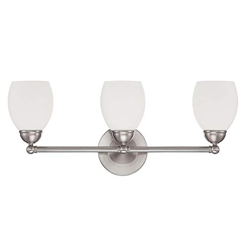 Sunset Lighting F2813-80 Three Light Olen Vanity - Opal Glass, Dimmable - with Bright Satin Nickel Finish