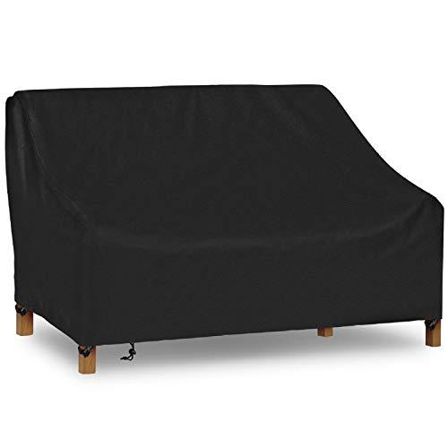 iCOVER Patio Sofa Cover, Waterproof 2-Seater Deep Lounge Loveseat Cover, Lightweight Easy On/Off, Buckles Drawstring Design,90'x34'x32' (LxDxH)