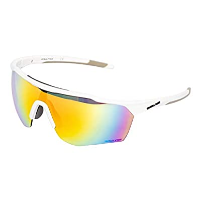 Rawlings Adult Shield Baseball Sunglasses Lightweight Sports Sun Glasses for Running, Softball, Rowing, Cycling, White/Orange Style 2002 Large Shield