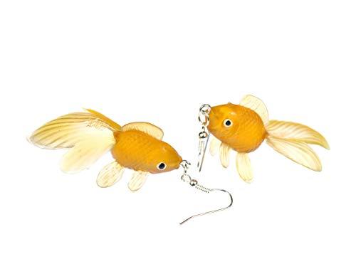 Miniblings Goldfisch Ohrringe Kampffisch Fisch Aquarium Fische Koi orange braun - Handmade Modeschmuck I Ohrhänger Ohrschmuck versilbert