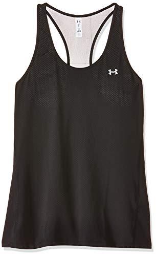 Under Armour UA Heatgear Racer, atmungsaktives Sportoberteil für Frauen, bequemes Sportshirt mit enganliegender Passform Damen, Black / Metallic Silver , L