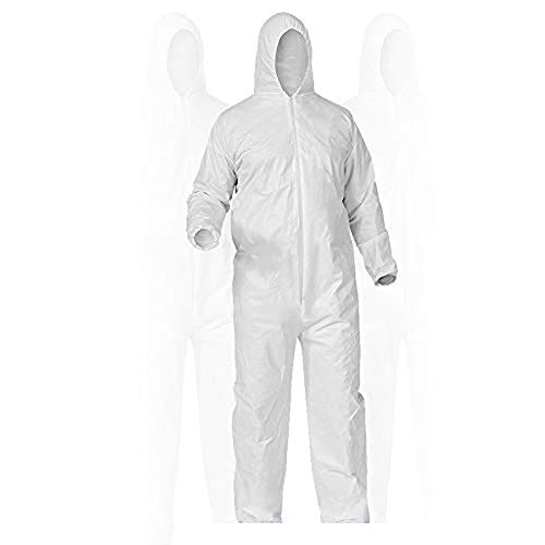 Disposable Protective Coverall with Respirator-Fit Hood and Elastic Cuff, White (XXL)