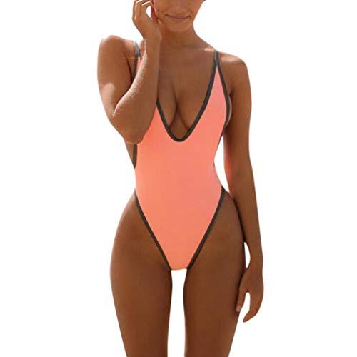 Bfmyxgs Sexy One Piece Frauen Stilvolle Monokini Badeanzug Mode V-Ausschnitt Tanga Bikini Charmante Badebekleidung Baden Beachwear Monokini Bademode Sets Badeanzug Beachwear Tankini Sets