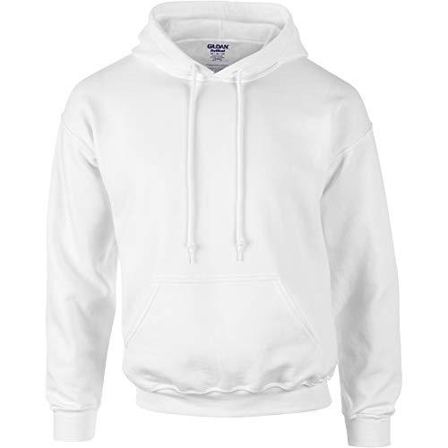 Gildan G125 DryBlend Adult Hooded Sweatshirt, White, Medium