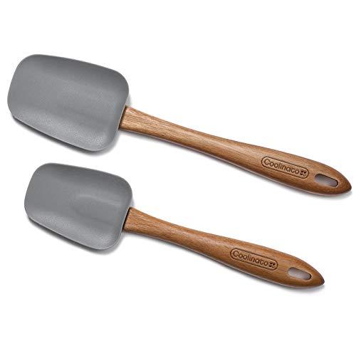 Coolinato 2er Set Silikon Kochlöffel 25cm und 29 cm, Silikonkopf, Holzstiel Akazienholz, hitzebeständig, schonend zu beschichteten Pfannen
