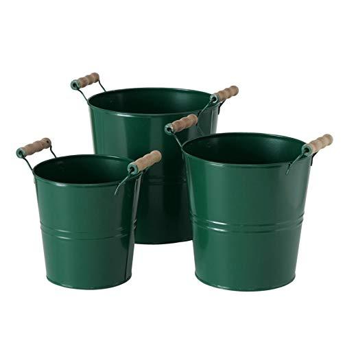 Pflanztopf Set grün mit Holz Griffen 3er Set Sortiert Höhe 18-23cm Durchmesser 15-20cm aus Zink