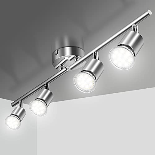 Deckenlampe Led Deckenleuchte Schwenkbar inkl. 4 x GU10 Fassungen Deckenstrahler Spotbalken Wohnzimmerlampe Drehbar 230V Spotleuchte für Küche Wohnzimmer Schlafzimmer (ohne Lichtquelle)