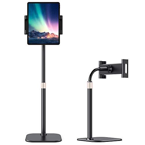 AHK - Soporte universal para tablet de teléfono ajustable en altura, rotación de 360 grados, con brazo flexible, soporte de pinza para iPad Pro, Fire HD, Galaxy Tab, MediaPad, iPhone