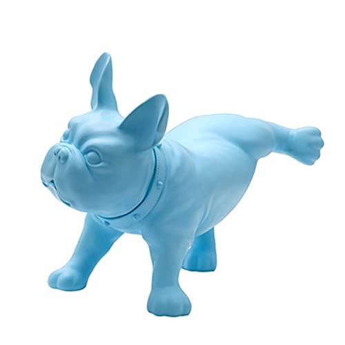 ZGPTX Modern Creative French Bulldog Dog Sculpture PE Plastic Mini Pet Statue Home Decoration Handicrafts Living Room Model Creative,Blue