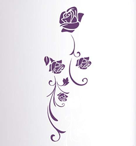 tjapalo® pk236 Wandtattoo Blumen einzeln Element Wandtattoo Rosen lila Wandtattoo Blumenranken Wantattoo wohnzimmer Blumen, Farbe: lindgrün, Größe: H100xB33cm
