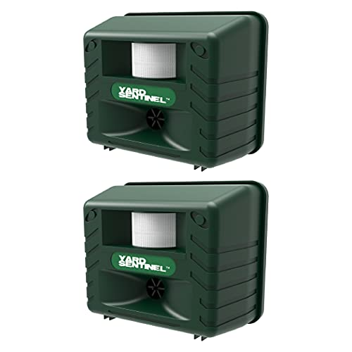 ASPECTEK Includes AC Adapter, Extension Cord Pest Repeller Yard Sentinel 2 Pack Outdoor Ultrasonic Animal Control, Green, Sound Frequency:15 kHz -18 kHz