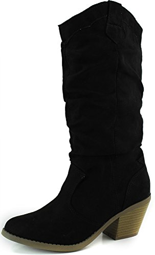Women's Designer Mid Calf Knee High Vintage Western Cowboy Combat Stacked Stylish Casual Slouch Fashion Dress Boot,Muse-01 Black Suede 6