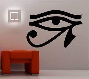Online Ontwerp Egyptische Oog Muur Art Sticker Vinyl Decal Slaapkamer Blauw
