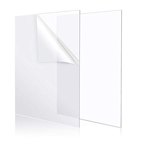 """YSTIME 8"""" x 12"""" Clear Acrylic Sheet Plexiglass Plastic Sheet for Crafts Transparent Acrylic Board with Protective Paper for Craft, Windows, Frame, DIY Display Projects, Pack of 2"""