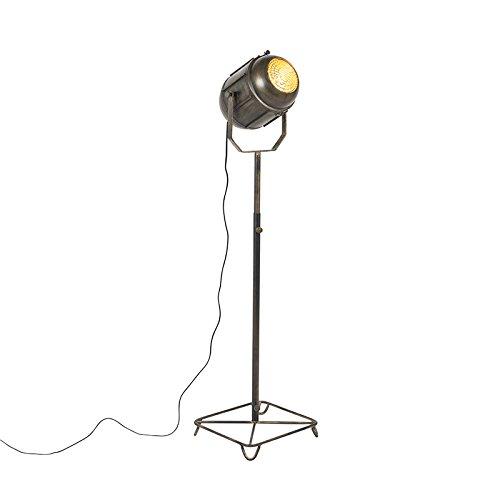 QAZQA Retro/Vintage Lámpara de pie vintage foco de cine bronce envejecido 140cm - BROCA Metálica Otros Adecuado para LED Max. 1 x 40 Watt