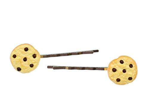 Miniblings 2er Set Keks Kekse Cookie Chocolate Chips Haarklammer Haarspange Spange - Handmade Modeschmuck I Haarschmuck Haarclips Haarklammern