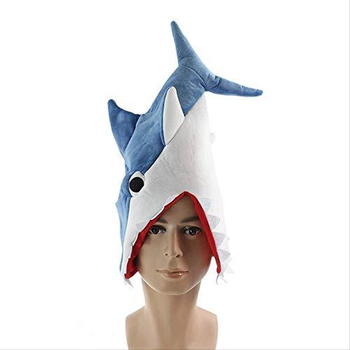 qwertt Cosplay Aquarium Piranha Fischhut Plüsch Plüschtiere Für Halloween Lustige Originalität Geschenke 60cm Blau