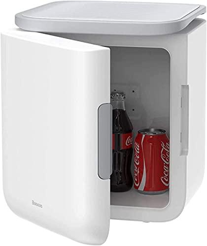Mini refrigerador de 6 litros, refrigerador pequeño portátil para cerveza y bebida, con 5-65 ℃ función de refrigeración y calefacción, refrigerador de escritorio compacto-Blanco